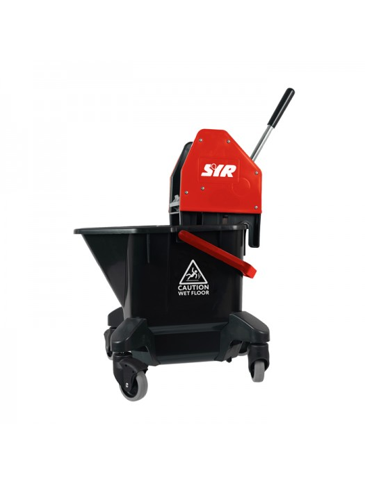 20 Litre SYR Ebony Mop Bucket on Wheels with Wringer Red