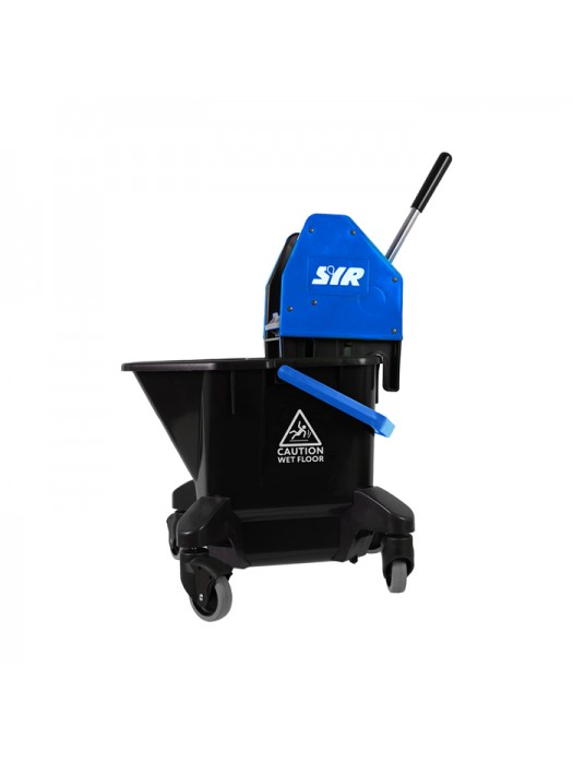 20 Litre SYR Ebony Mop Bucket on Wheels with Wringer Blue