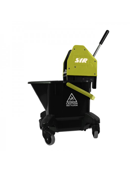 20 Litre SYR Ebony Mop Bucket on Wheels with Wringer Yellow