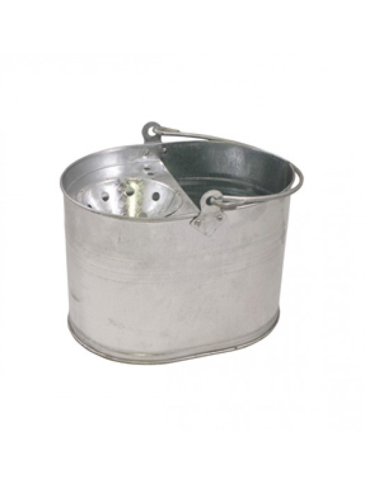 15L Galvanised Mop Bucket with Sieve Wringer