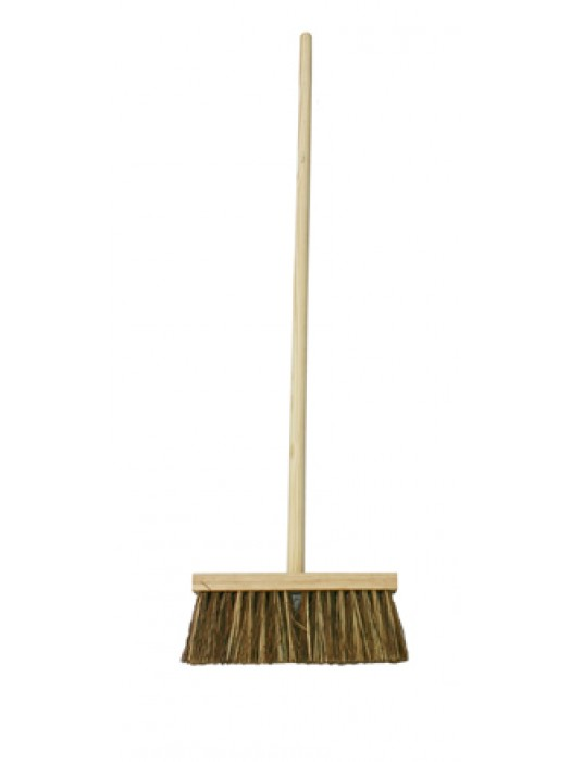 "Stiff Bass Mix Channel Yard Broom Brush 13"" 330mm with Handle"