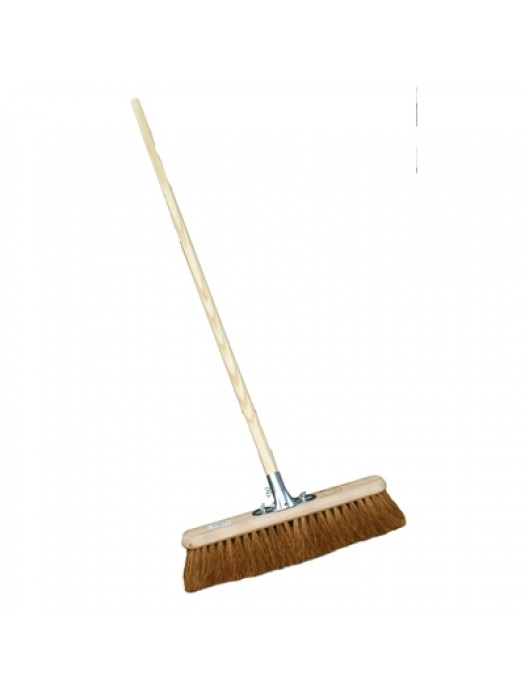 "Soft Coco Sweeping Broom Brush 18"" 600mm with Socket & Handle"