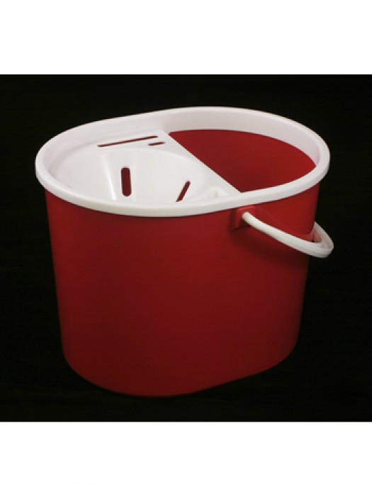 15 Litre Lucy Plastic Mop Bucket with Sieve Wringer Red