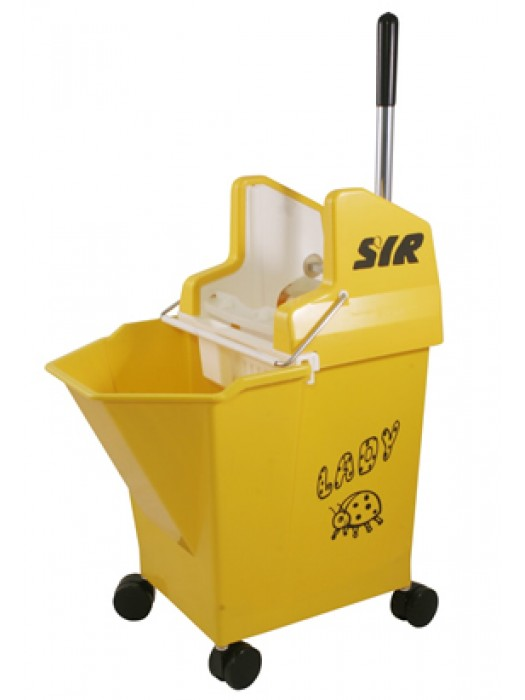 15 Litre SYR Ladybug Mop Bucket on Wheels with Wringer Red