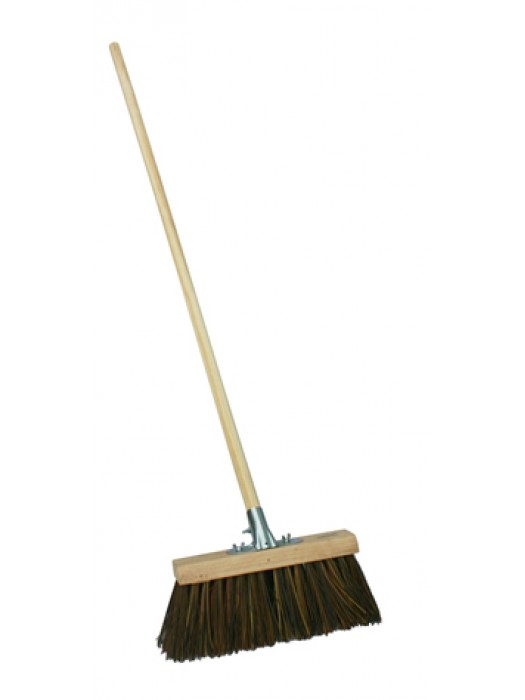Stiff Bass/Poly/Cane Mix Channel Yard Broom 13 inch with Socket & Handle